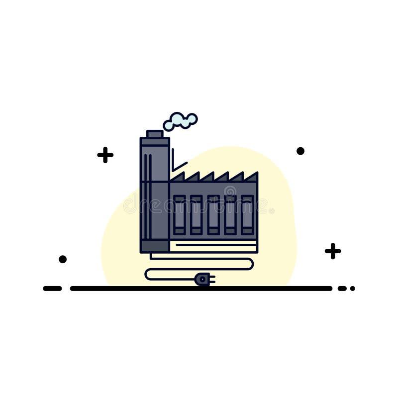 Förbrukning resurs, energi, fabrik, tillverkande plan färgsymbolsvektor royaltyfri illustrationer