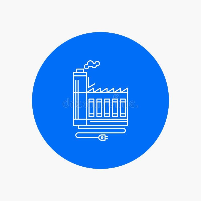 Förbrukning resurs, energi, fabrik, tillverkande vit linje symbol i cirkelbakgrund Vektorsymbolsillustration stock illustrationer