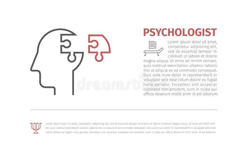 Förbrylla huvudkonturer som symboliserar psykologi, psykologiska problem Tillgänglig vektor royaltyfri illustrationer
