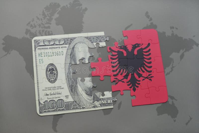 förbrylla med nationsflaggan av Albanien och dollarsedeln på en världskartabakgrund vektor illustrationer