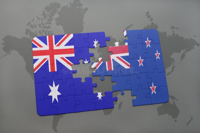 förbrylla med nationsflaggan av Australien och Nya Zeeland på en världskartabakgrund vektor illustrationer