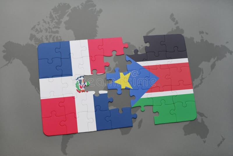 förbrylla med nationsflaggan av Dominikanska republiken och södra Sudan på en världskarta stock illustrationer