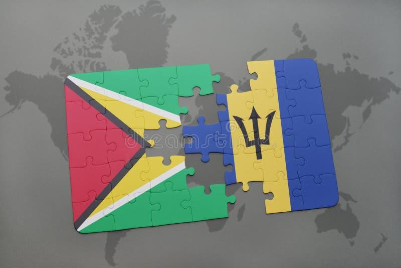 förbrylla med nationsflaggan av guyana och Barbados på en världskartabakgrund stock illustrationer