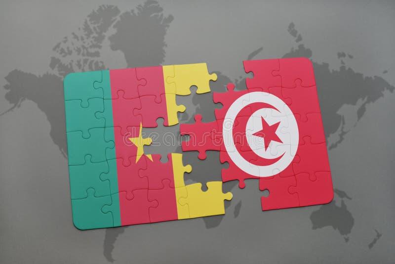 förbrylla med nationsflaggan av Kamerun och Tunisien på en världskarta royaltyfri illustrationer
