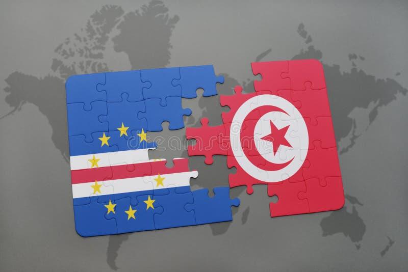 förbrylla med nationsflaggan av Kap Verde och Tunisien på en världskarta royaltyfri illustrationer
