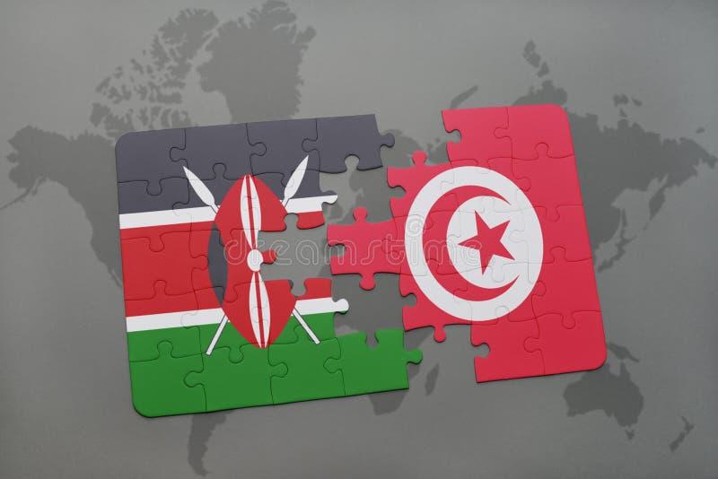 förbrylla med nationsflaggan av Kenya och Tunisien på en världskarta royaltyfri illustrationer