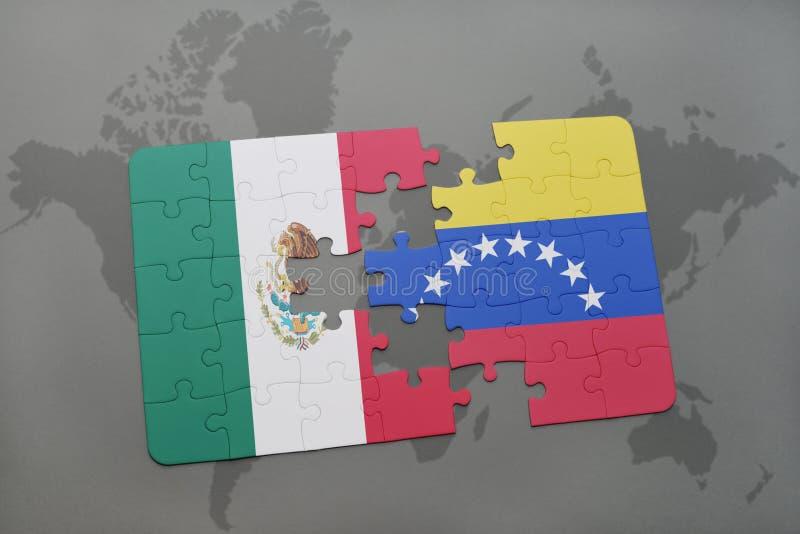 förbrylla med nationsflaggan av Mexiko och Venezuela på en världskartabakgrund stock illustrationer