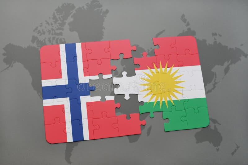 Förbrylla med nationsflaggan av Norge och kurdistanen på en världskarta vektor illustrationer