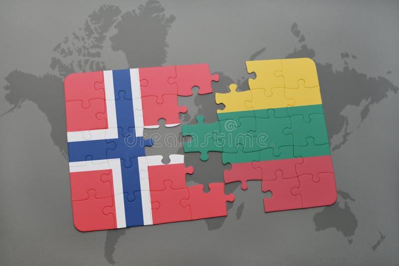 förbrylla med nationsflaggan av Norge och Litauen på en världskartabakgrund stock illustrationer