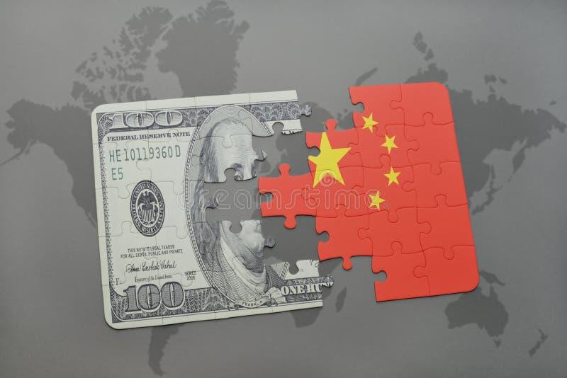 förbrylla med nationsflaggan av porslin- och dollarsedeln på en världskartabakgrund royaltyfri illustrationer