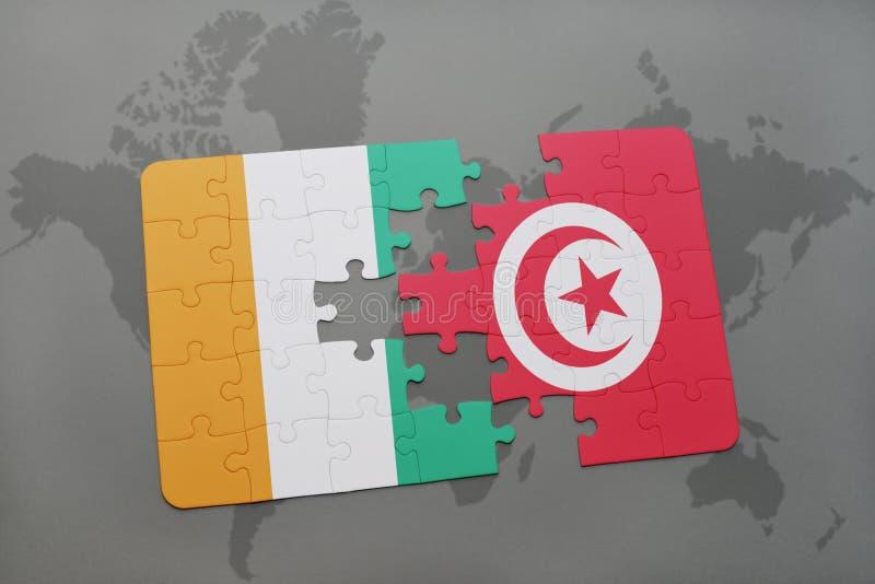 förbrylla med nationsflaggan av skjuldivoire och Tunisien på en världskarta stock illustrationer