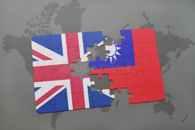 Förbrylla med nationsflaggan av Storbritannien och taiwan på en världskartabakgrund royaltyfri illustrationer