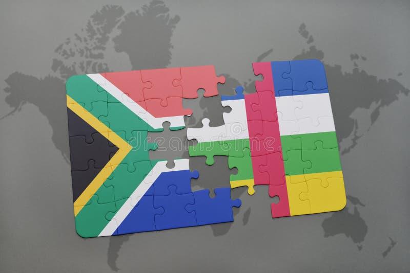förbrylla med nationsflaggan av Sydafrika och Centralafrikanska republiken på en världskarta vektor illustrationer