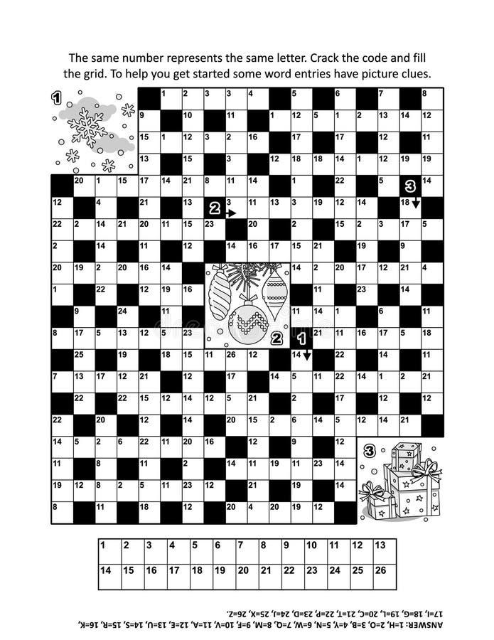 Förbrylla sidan med lek för ordet för codebreaker för vinterferie themed 2 royaltyfri illustrationer