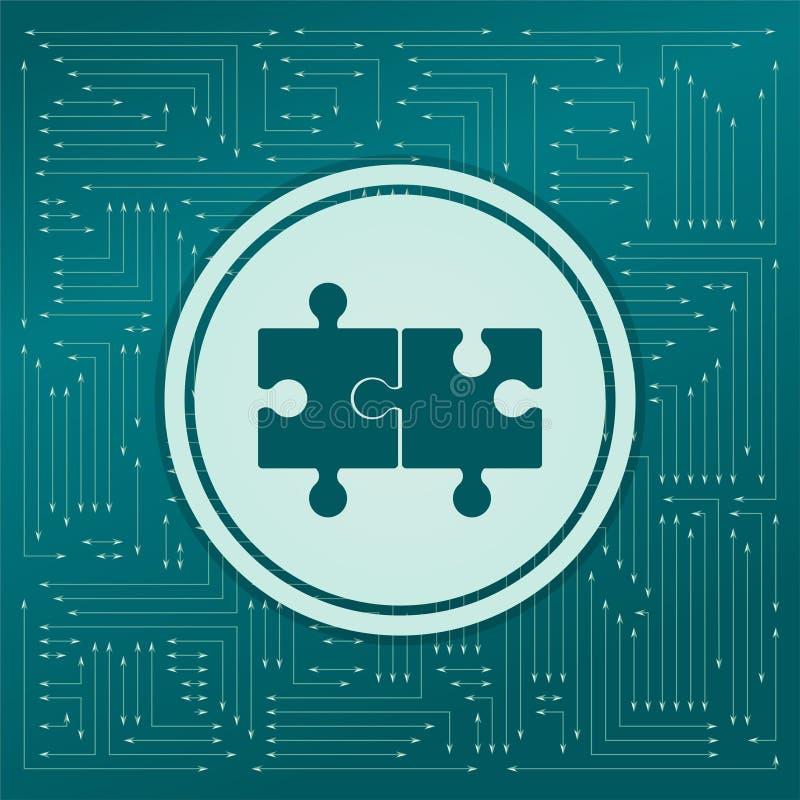 Förbrylla symbolen på en grön bakgrund, med pilar i olika riktningar Det visas det elektroniska brädet stock illustrationer