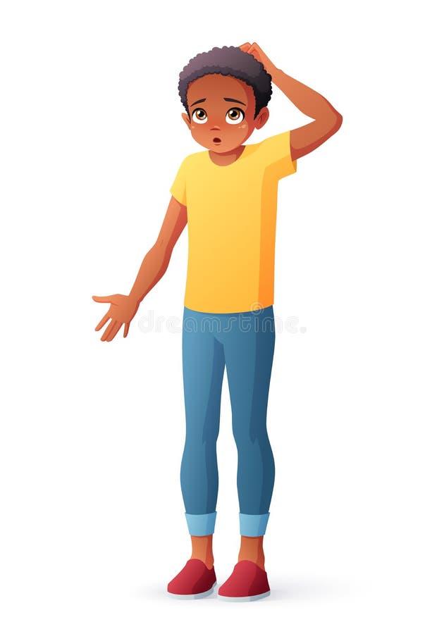 Förbryllad afrikansk pojke som skrapar huvudet som rycker på axlarna skuldror Isolerad vektorillustration royaltyfri illustrationer