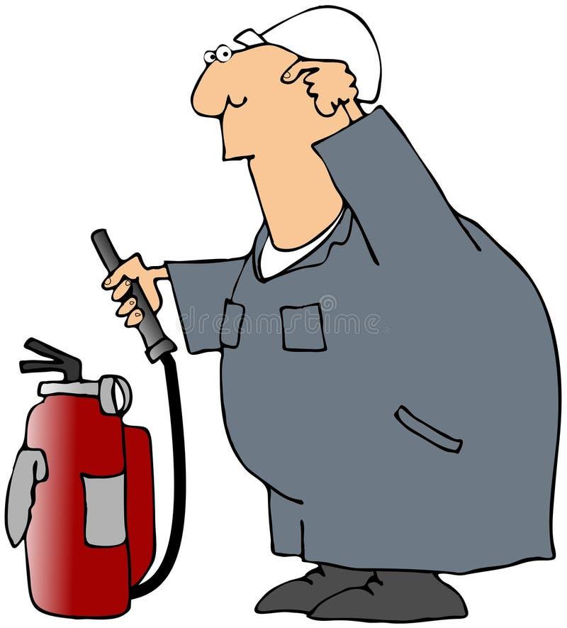 förbryllad arbetare för eldsläckare brand stock illustrationer