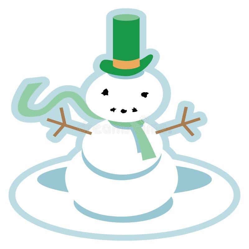 Förbryllad snögubbe i en grön bästa hatt royaltyfri illustrationer