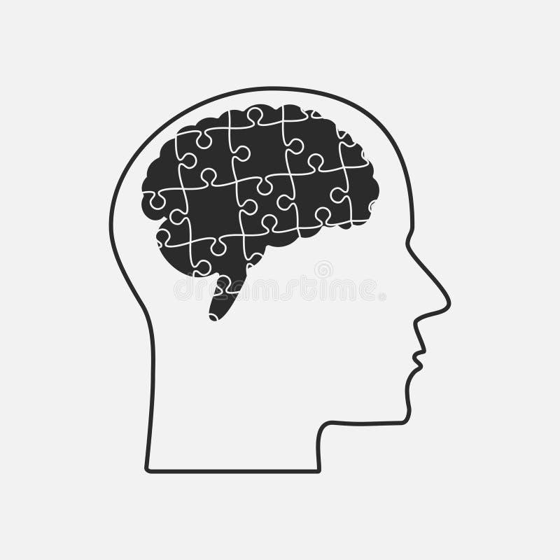 förbryllar lätta stycken eps8 för ändringsfärger resizing av vektorn Kontur Brain Head rengöringsduk för vektor för hjärnillustra stock illustrationer