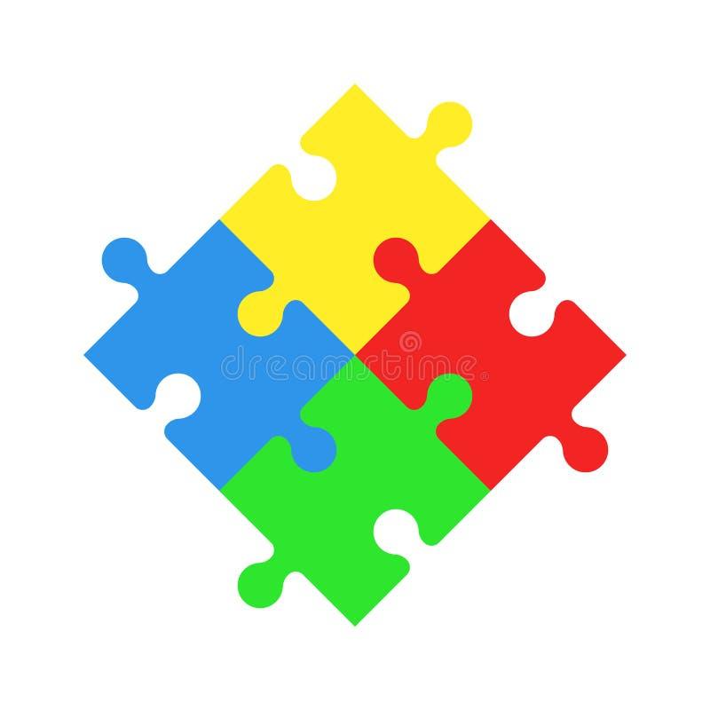 Förbryllar symbolen Jigsaw Dag för världsautismmedvetenhet stock illustrationer