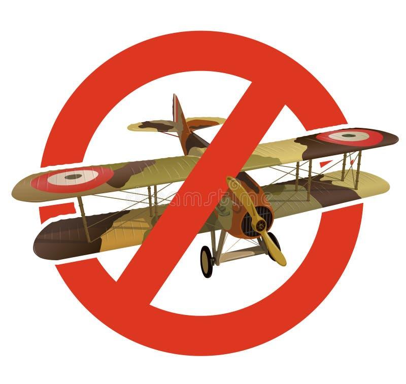 Förbud av biplanen med militär kamouflage Strikt förbud på konstruktion av flygplan med två vingar Stoppa världskriget stock illustrationer