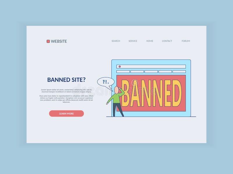 Förbud på internetbegrepp på webbsidamallen - tecknad filmperson som tänker vad för att göra med den blockerade websiten vektor illustrationer