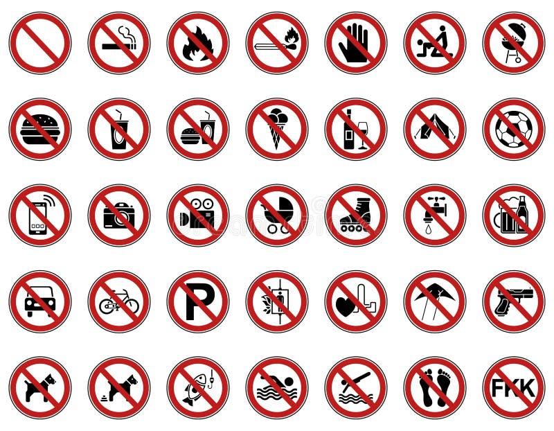 35 förbud- & varningstecken - Iconset stock illustrationer
