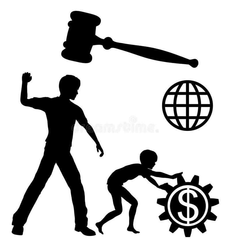 Förbudbarnarbete vektor illustrationer