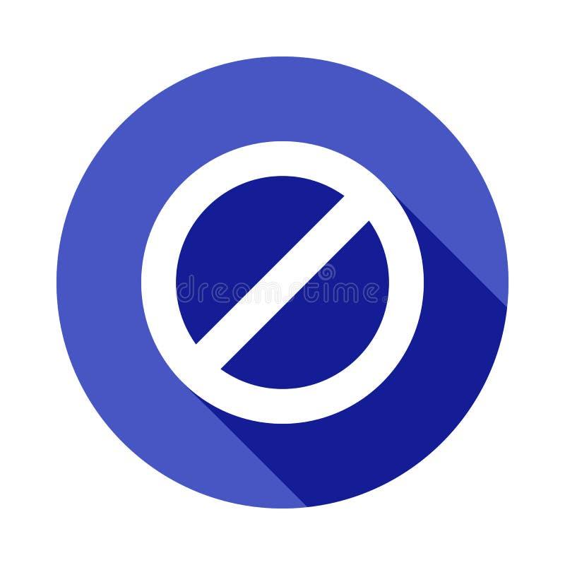 förbudsymbol i plan lång skuggastil stock illustrationer