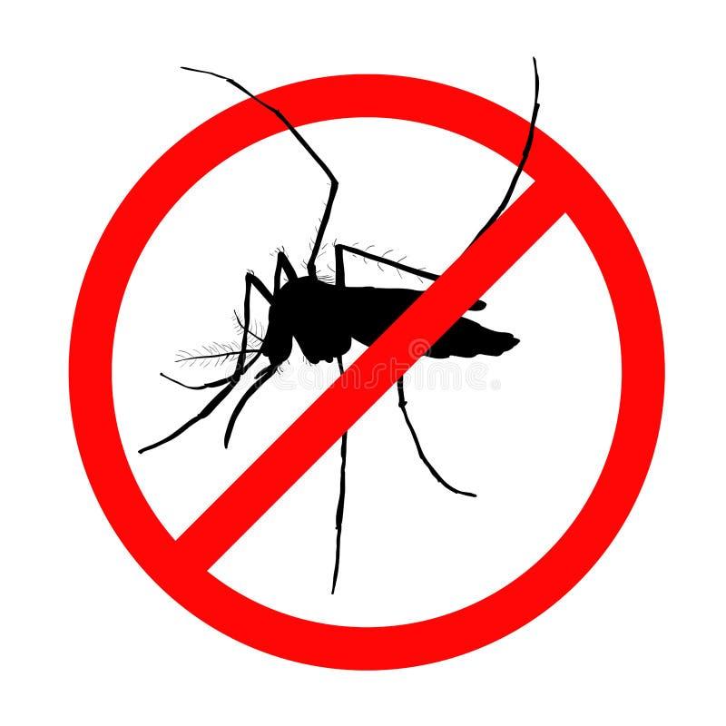 Förbudtecken för myggor på stock illustrationer