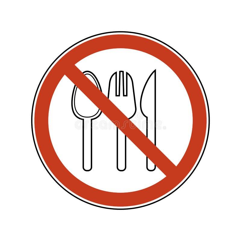 Förbudtecken med skeden, gaffel, kniv r Förbudillustrationen ställde in plast- bestick royaltyfri illustrationer