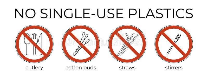 Förbudteckensked, gaffel, kniv, blandare, sugrör, bomullsknopp r stock illustrationer
