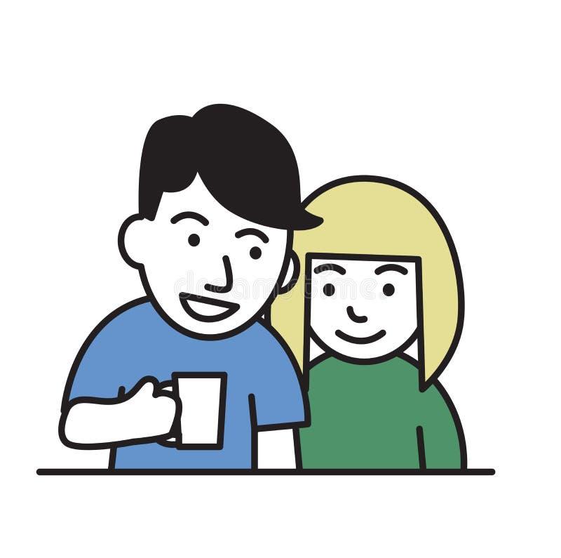 förbunden barn Grabb som rymmer en råna och att le flickan Plan designsymbol Färgrik plan vektorillustration Isolerat på vit vektor illustrationer