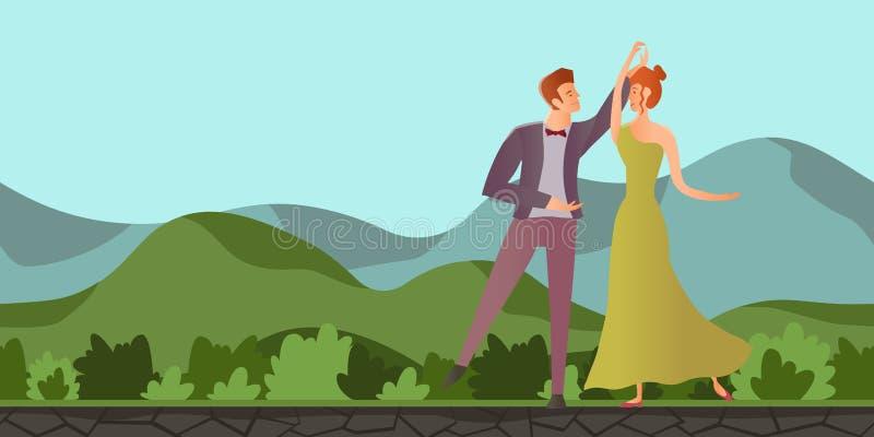 förbunden förälskelse Dans för man- och kvinnadansbalsal i berglandskapet också vektor för coreldrawillustration royaltyfri illustrationer