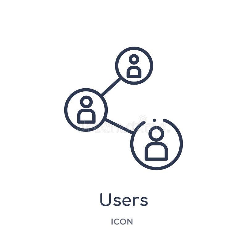 Förbunden symbol för linjära användare från affärs- och analyticsöversiktssamling Tunn linje förbunden vektor för användare som i stock illustrationer