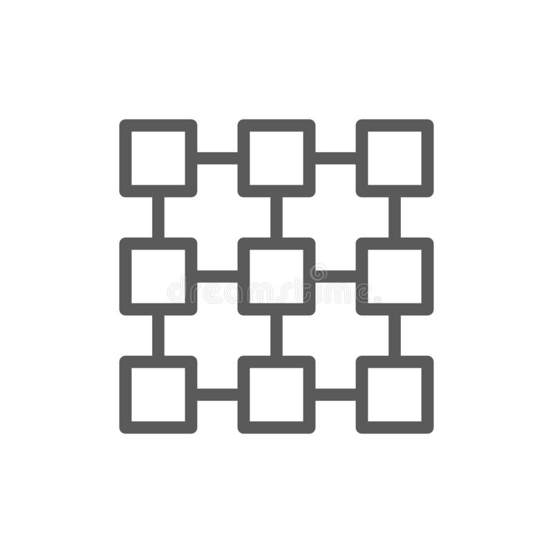 Förbundet system för matris, blockchainteknologi, kvarterkedjelinje symbol stock illustrationer