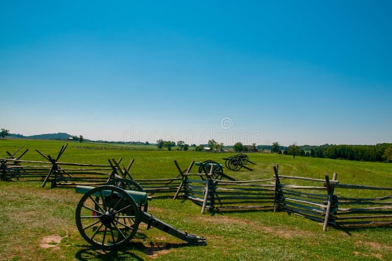 Förbundsmedlem kanoner på seminariet Ridge royaltyfria foton