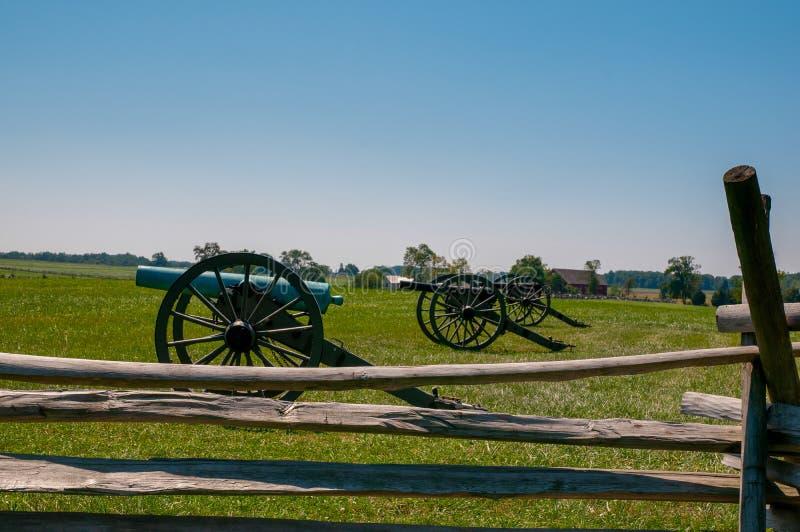 Förbundsmedlem kanoner på seminariet Ridge arkivbild