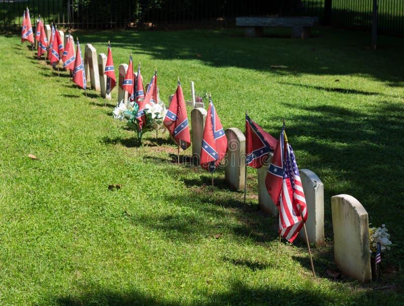 Förbundsmedlemkyrkogård på den Appomattox nationalparken arkivbild