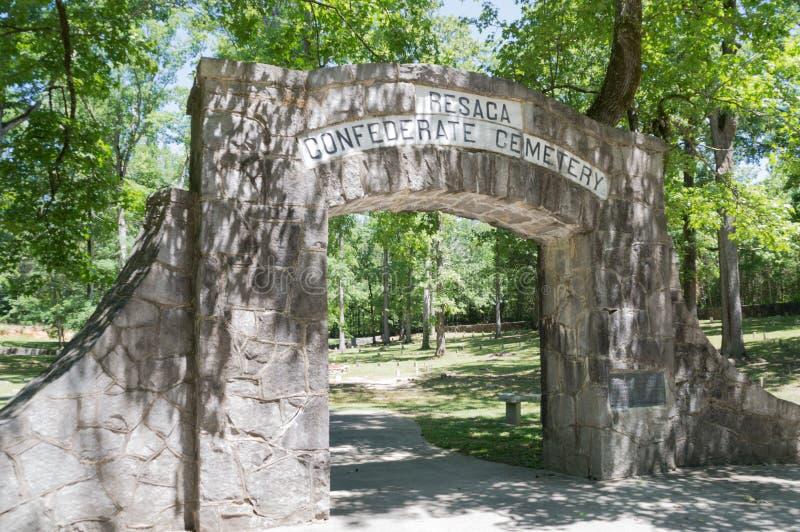Förbundsmedlemkyrkogård, Reseca Georgia USA arkivbild