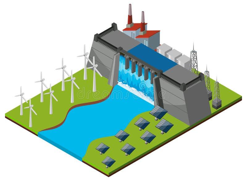 Fördämning med turbiner och sol- celler royaltyfri illustrationer
