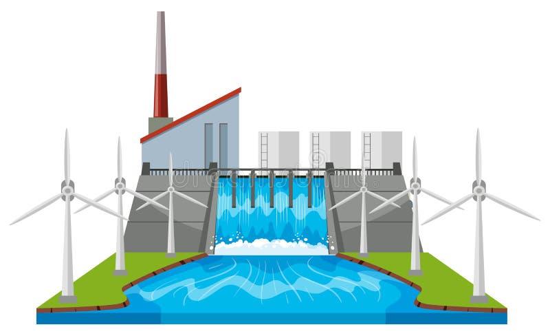 Fördämning- och vindturbiner vid floden royaltyfri illustrationer