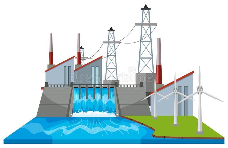 Fördämningplats med vindturbiner stock illustrationer