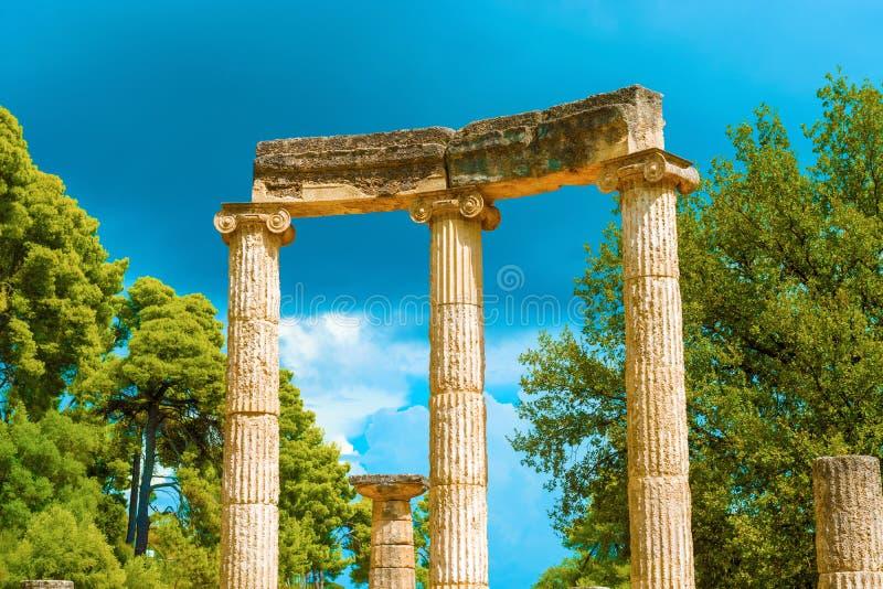 Fördärva av Philipps tempel i Olympia, Grekland arkivbild