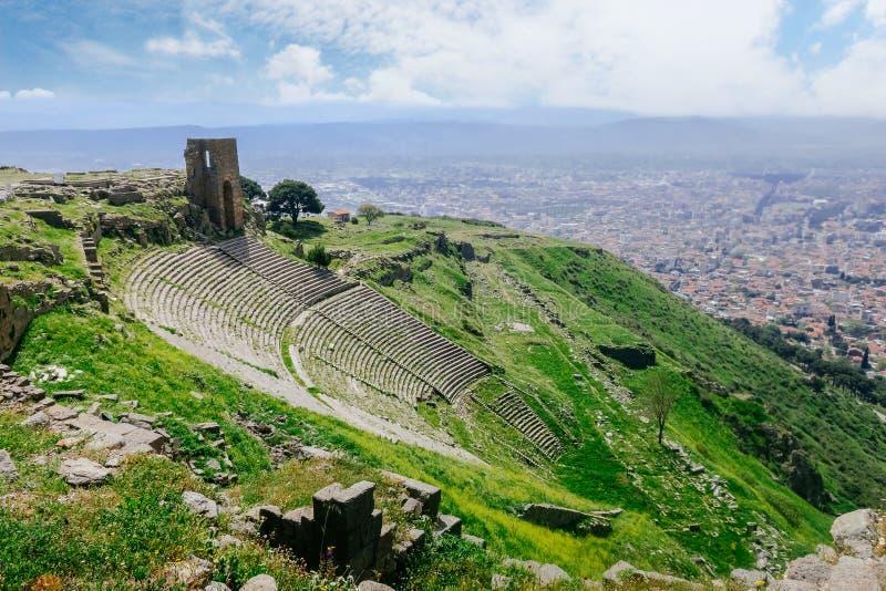 Fördärva den roman amfiteateramfiteatern i Pergamum Pergamon, T royaltyfria bilder