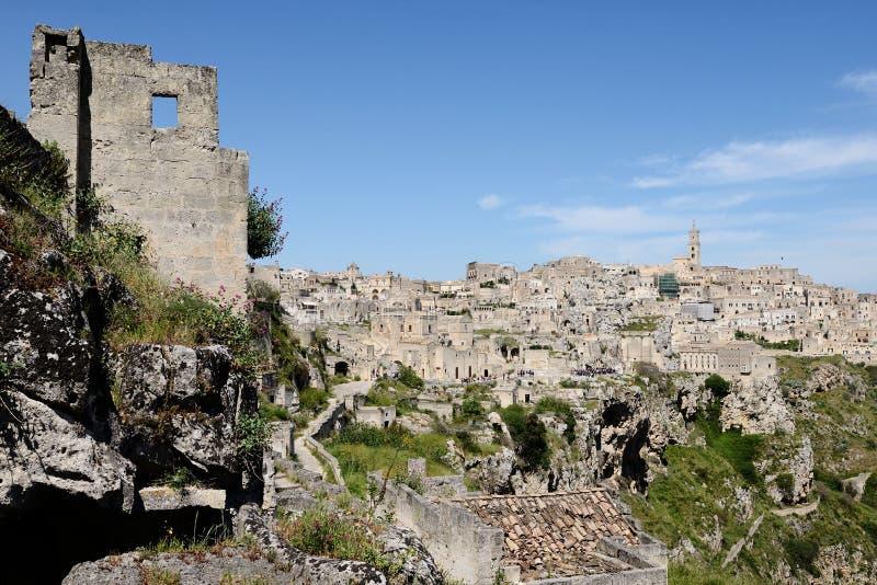 Fördärva och Sassi av Matera royaltyfri fotografi
