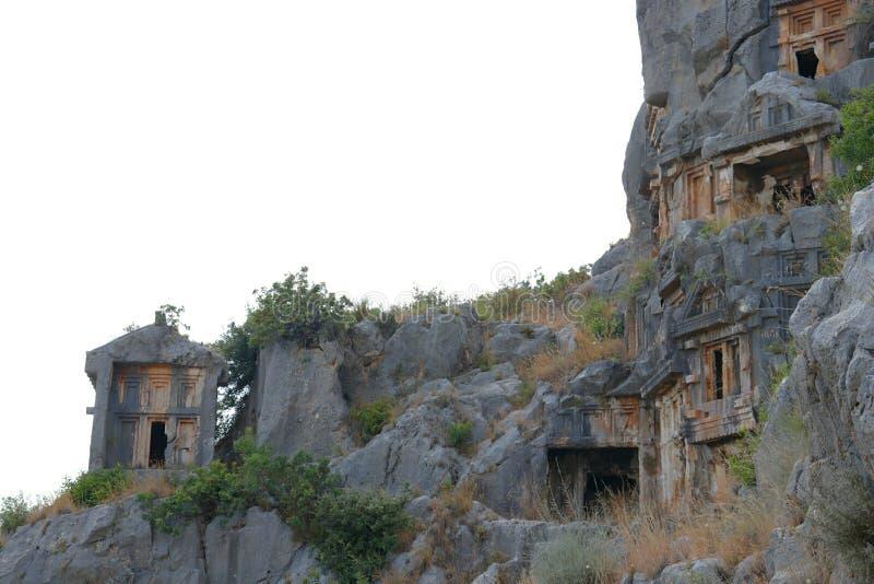 Fördärvade gravvalv av Mira, Turkiet arkivbilder