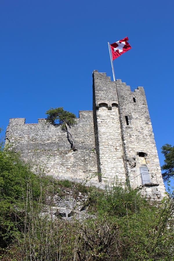 Fördärvar över den gamla staden Baden, Schweiz royaltyfria foton