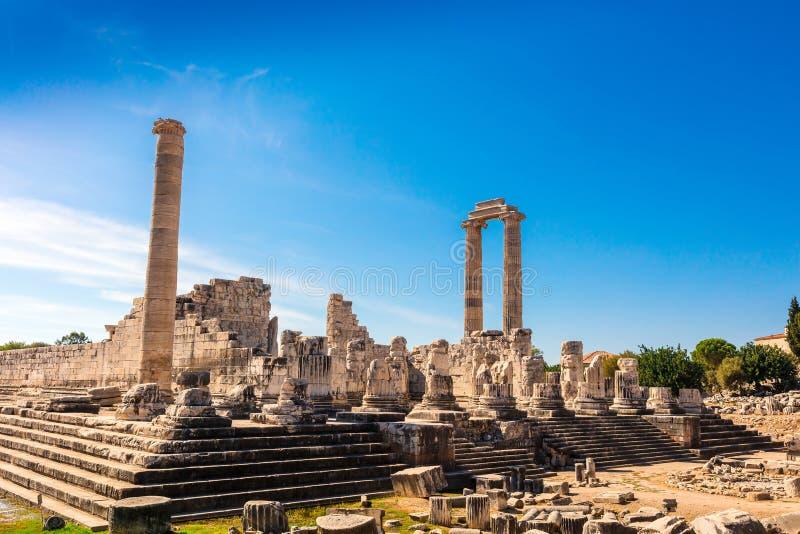 Fördärvar av Apollo Temple i Didyma, Turkiet royaltyfria foton
