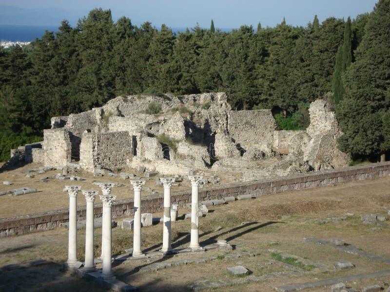 Fördärvar av Asklepion i Kos, Grekland royaltyfria bilder